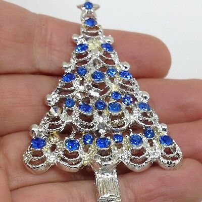 Vintage CHRISTMAS TREE BROOCH PIN Blue Glass Rhinestone Costume Jewelry H