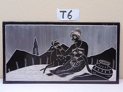 Vintage Mid Century Etched Art On Metal Picture India-Indian- Sexy Woman-Deer