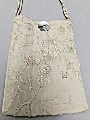 OOAK Antique Embroidered Silk Chinese Canton Piano Shawl Purse ESTATE