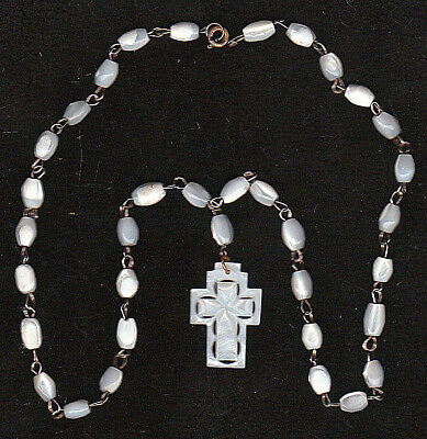 BETHLEHEM  CROSS MOTHER OF PEARL PENDANT on FRESH WATER PEARL BEADS NECKLACE