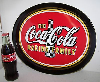 Coke Coca Cola 2002 Nascar Racing Family Tray + 2001 8 Oz Racing Family Bottle
