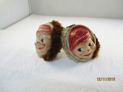 Rare Vintage Ear Muffs Boys Face & Metal Band Red Hat Winter Howdy Dowdy Look