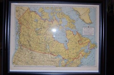 Vintage 1930's National Geographic Map of Canada, Framed