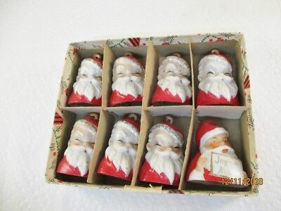 Vintage Porcelain Santa Claus Christmas Bells - (8) Japan