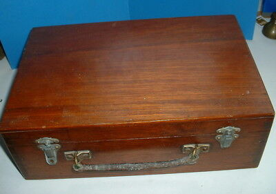 LOVELY VINTAGE WOODEN CASE / BOX for ARTIST SEWING CRAFT TOOLS LETTERS etc