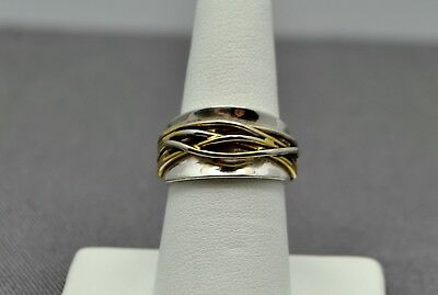Sterling Silver Beautiful Band With Gold Toned Winding Design Ring 7.5 #fmz210