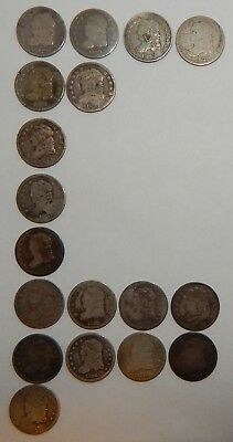 1829-1837 - Capped Bust Half Dimes - Lot Of 18  ----  #603Z