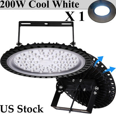 200W 6500K LED High Bay Light UFO Fixtures Warehouse GYM Energy Efficient Lamp