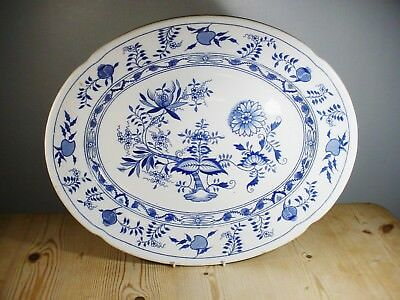 """Antique Grimwades """"Carro"""" Blue Onion Very Large Meat Platter - 18 Inches 1906"""