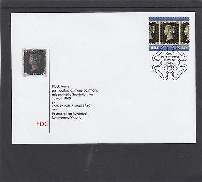 Estonia 2015 Penny 1d Black 175th Anniv First Day Cover FDC Tallin special h/s