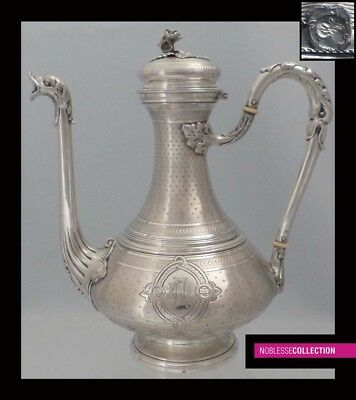 LOVELY ANTIQUE 1880s FRENCH ALL STERLING SILVER COFFEE/TEA POT Napoleon III st.
