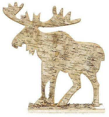 Birch Bark Cut Out Moose Flat Figure Table Top Christmas Winter Cabin Home Decor