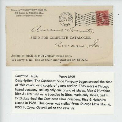 Mr Fancy Cancel 2 Sided The Continental Shoe Company Chicago Ill 1895 Cvr #3513