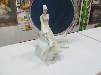 Royal Doulton Figurine Reflections Strolling Hn 3073 Lady  Walking Dog