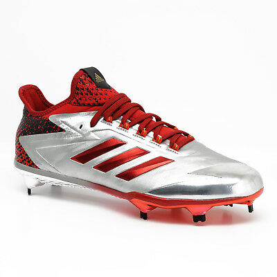 b8fe385abe3 New Adidas Adizero Afterburner 4.0 LE Low Metal Mens Baseball Cleats Silver  Red