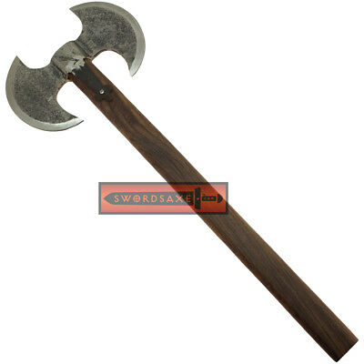 Rustic Carbon Steel Barbarian Double Blade Medieval Axe with Hardwood Handle