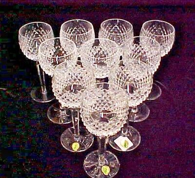 """(SET OF 10) Waterford Ireland Crystal ALANA 7 3/8"""" WINE HOCK GLASS GOBLET EXCELL"""