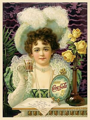 1890s Coca-Cola Classic Vintage Soft Drink Advertising Poster - 24x32