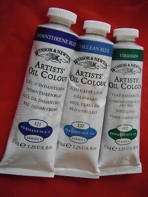 Three (3) 'Series 4' Winsor & Newton 37ml Artist's Oil Paints, New/never opened