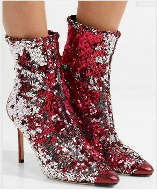 Womens Show Pointy Toe High Stiletto Heel Sequin Ankle Boot Shoe Zip Bling Bling
