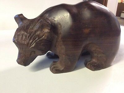 Hand Carved Solid Ironwood Grizzly Bear Sculpture
