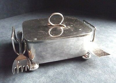 SUPERB ~ SILVER Plate & GLASS ~ Butter / Olive DISH ~ c1935 by Walker & Hall