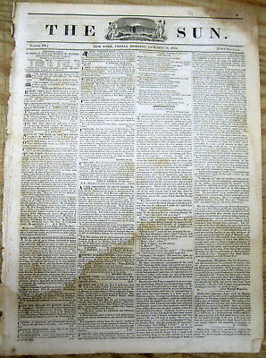 1835 NY newspaper w Ad -  EMIGRATION to TEXAS from US before TEXAS REVOLUTION