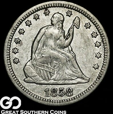 1858 Seated Liberty Quarter, Better Date