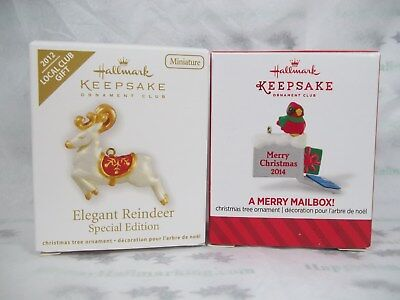 Hallmark 2 Local Club Gift 2012 Reindeer 2014 Merry Mailbox Miniature Ornament