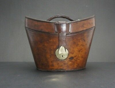 Gentleman's English Antique Leather Bucket Top Hat Hatbox