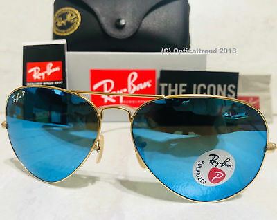 ***Ray-Ban## Polarized Aviator Blue Flash Mirror Matte Gold RB3025 112/4L 58mm
