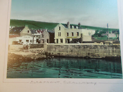 Sea front Scalloway Hotel 12 x10 mounted photo early embossed by CJ Williamson