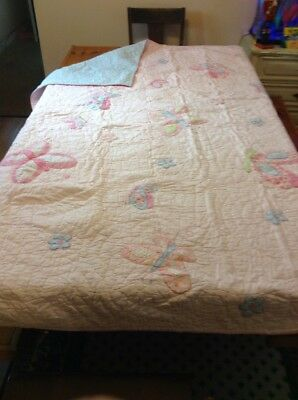 Pottery Barn Kids Butterfly Quilt Pink, Blue