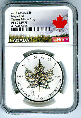 2018 $5 Canada 1Oz Silver Maple Leaf Edison Light Bulb Privy Ngc Pf69 Rev Proof