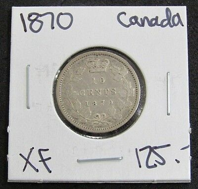 1870 Canada XF 10 Cent Silver Coin