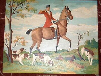 Vintage Paint by Number Pointer Hunting Dog Horse Cavalry 16 x 20