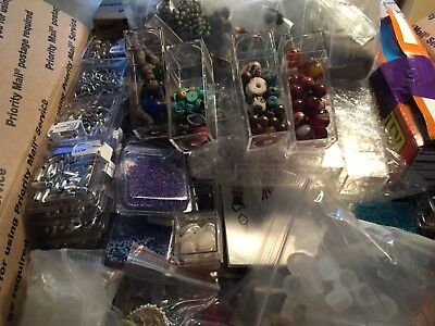 Large Lot of Beads~Drilled~Antique Trade~Glass~Acrylic~Metal~Wood~Findings~box 3