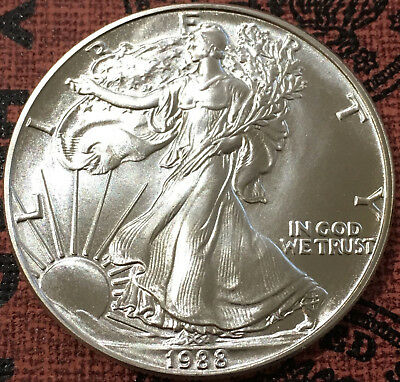 1988  $1 US Silver American Eagle Coin 1 Troy Ounce .999 Fine Silver  USA