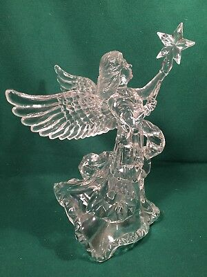 """Vintage Clear Acrylic Ice Angel Tree Topper 9"""" with Star Plastic crystal look"""