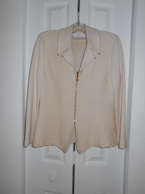 ST JOHN COLLECTION by MARIE GRAY ivory knit jacket size Small