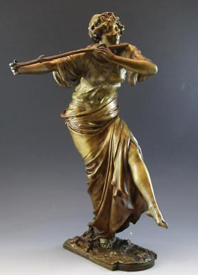 C1910 French Bronze Figural Sculpture Woman Playing a Flute Signed P. Philippe