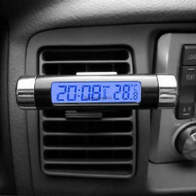 Car Air Outlet 2-in-1 LED Blue Backlight Mini Digital Thermometer Clock SO6H