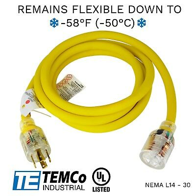 TEMCo 10ft Extreme Weather Generator Cord Yellow NEMA L14-30 125/250V 30A UL