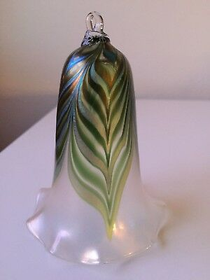 vintage pulled feather iridescent art glass ornament exc condition! hand blown