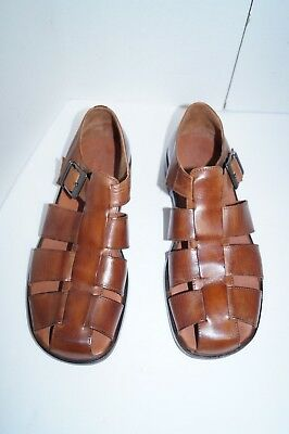 7883d0cb79b2 Johnston Murphy Mens Casual Brown Leather Slip On Fisherman Sandals Shoes  11.5 M