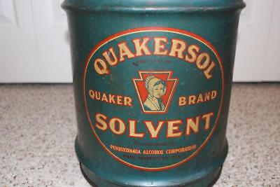 "Ultra Scarce Vintage ""QUAKERSOL"" 5 Gallon Steel Solvent Can Philadelphia, PA"