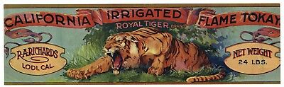 ROYAL TIGER Vintage Grape Crate Label, Lion, Cat,  **AN ORIGINAL LABEL** 094