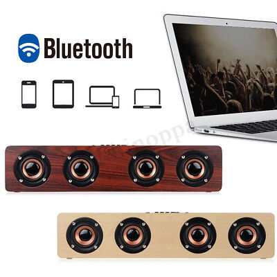 12W Wireless Wood Bluetooth Speaker TF AUX FM Home Party Music Super Bass Sound