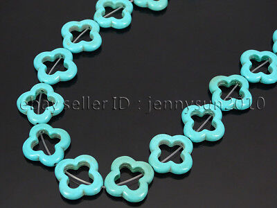 20Pcs Blue Howlite Turquoise Gemstone 20mm Clover Spacer Loose Beads 16'' Strand