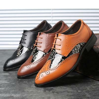 British Mens Brogue Leather Shoes Lace Up Wing Tip Dress Formal Oxfords Stylish